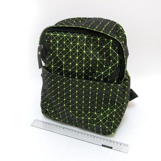 4474-9 Рюкзак молодежный Компакт, черный с зеленым, 25*30*12см (1)