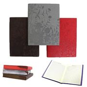 Блокнот діловий А6 160 аркушів кремовий папір в клітинку прошивний шкіряна м'яка обкладинка на гумці Цветы Josef Otten 4630_A6