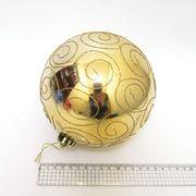 Куля новорічна 15 см, глянцева, Велика золота з візерунком Josef Otten 4825-15CM (0982-15)