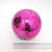 Куля новорічна 15 см, глянцева, Велика рожева з візерунком Josef Otten 4825-15CM