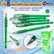 Ручка масляна зелена 1.0 мм з гумовим тримачем Tianjiao TY-501P