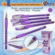 Ручка масляна фіолетова 1.0 мм з гумовим тримачем Tianjiao TY-501P