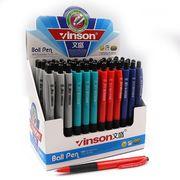 Ручка кулькова автоматична з гумовим тримачем синя 1.0 мм асорті Vinson 505 (60/2400)