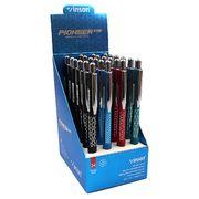 Ручка масляна автоматична з гумовим тримачем синя 0.7 мм асорті Swift Vinson 506 (24/1440)