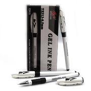 Ручка гелева чорна 0.5 мм з гумовим тримачем Tianjiao TZ513