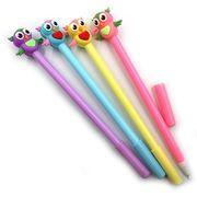 IMG_5167 Ручка детская с игрушкой Совятагелевая, 9син+3черн., mix, 12шт/этик. (12)