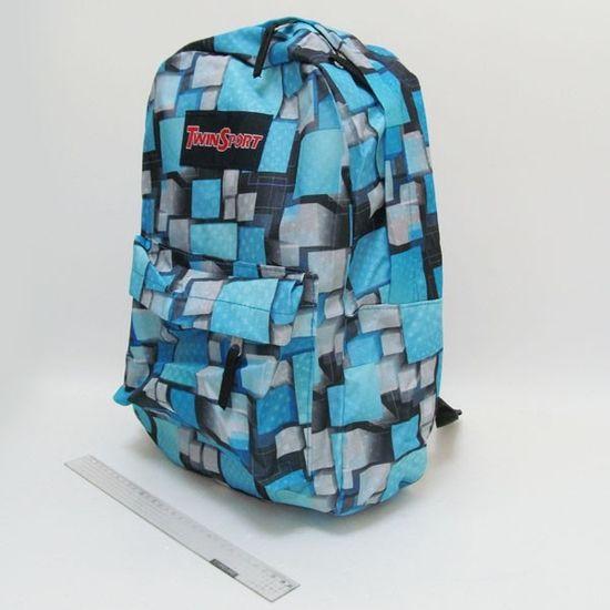 6112-1 Рюкзак с карманом Объемные квадраты 42х30х13см (5)