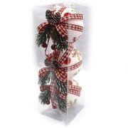 Набір ялинкових куль з тканини , розміром 8 см з нанесеним малюнком в пластиковому боксі Червона сніжинка Josef Otten 6526-177