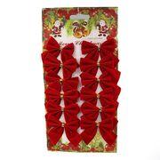 6526-48 Новогоднее украшение Красные бантики 5*5см, 12шт, 1шт/этик. (10/1000)