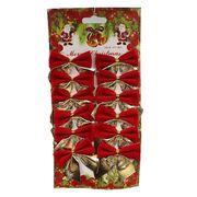 6526-49 Новогоднее украшение Красно-золотистые бантики 5,5*5см, 12шт, 1шт/этик. (10/1000)