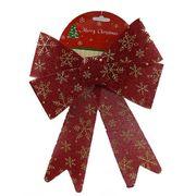 6526-50 Новогоднее украшение Красный бант 23*30см, 1шт/этик. (304)