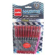 Ручка масляна червона 0.7 мм з гумовим тримачем Maxriter Cello 727