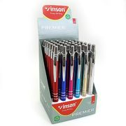 Ручка масляна автоматична металева синя 0.7 мм асорті Premier Vinson 7631 (36/1440)