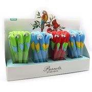 IMG_7872 Ручка детск.силикон с игрушкойПопугайгель, синяя, mix, 48шт/этик. (48)