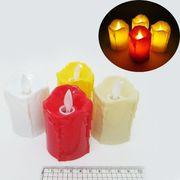 DSCN8188 Свеча пластик. светящ. LED Белая 5,5*4см с батарейками (12/480)