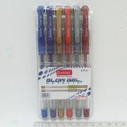 Набір гелевих ручок 1.0 мм 6 кольорів з гумовим тримачем Glow Gel Metalic Goldex 894