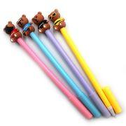 DSCN9499 Ручка детская с игрушкой Мишка, гелевая, синяя, mix, 12шт/этик. (12)