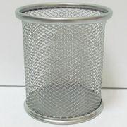 BJ-802-S Подставка д/ручек-метал.Сетка 9,8*8см,серебр.(7840-S), 1шт/этикетка (12/96)