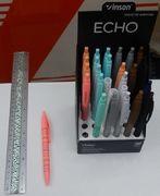 Ручка масляна автоматична з яскравим прогумованим корпусом синя 0.7 мм асорті Echo Vinson 815 (36/1440)