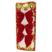 DSCN0558 Новогоднее украшение Бантики красные 10*10см, 3шт, 1шт/этик. (650)