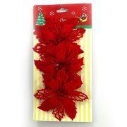 DSCN0627 Ел. украшения Красные цветы D11см 3 шт (600)