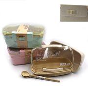 DSCN1031 Контейнер/еды 2 отд, вилка+ложка,п.пластик,СВЧ, 800мл, mix3 (36/72)