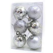 DSCN1150 Набор ел. шаров Узоры серебро D6см, PVC, 6шт, 1шт/этик. (100)