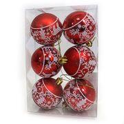 DSCN1151 Набор ел. шаров Узоры красные D6см, 6шт, PVC, 1шт/этик. (100)