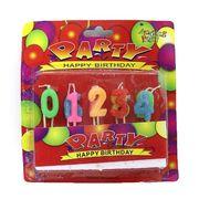 DSCN1273 Набор свечей для торта с блестками Party 0-9, 2,5*2см, mix, блистер, без/этик. (24/360)