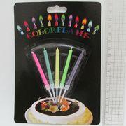 6331 Набор свечей для торта Цветное пламя 5цв., 5,5*0,5см, блистер,1шт/этик. (100)