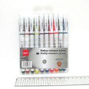 Набір гелевих ручок 0.5 мм 10 кольорів з гумовим тримачем Ellot ET801-10