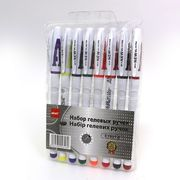 Набір гелевих ручок 0.5 мм 8 кольорів з гумовим тримачем Ellot ET-801-8