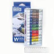 EW1206C Краски акварель.Basics 12цв.*6мл,алюм.тюб,пластик.подложка,с кисточкой,1шт/этик. (12/120)