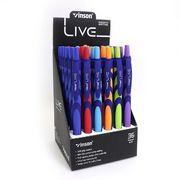 Ручка масляна автоматична синя 0.7 мм з прогумованим корпусом Live Vinson F20