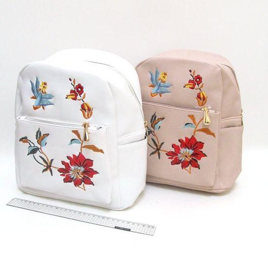 FMG-2802 Рюкзак кожа с вышивкой Цветы 30*26*11см, mix2 (5)
