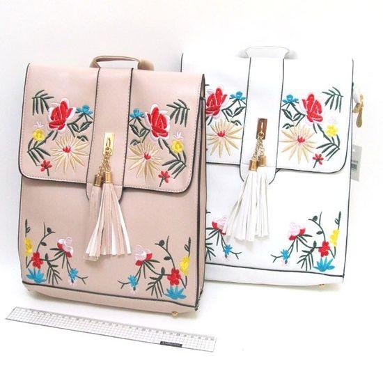 FMG-2804 Рюкзак-сумка кожа с вышивкой Узоры 31*27*9см, mix2 (5)