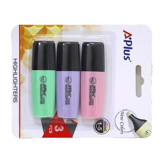 Набір міні текст-маркерів пастельних відтінків 3 шт у блістері. Клиноподібний пишучий вузол. Ширина лінії 1.0 - 5.0 мм A+Plus Beifa HY254402 (1/12/144)