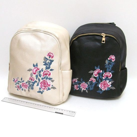 IMG_2808 Рюкзак кожа с вышивкой Розы 29*27*12см, mix2 (1)