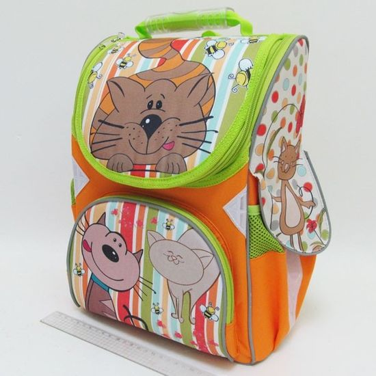 JO-1606 Рюкзак коробка Котик 13,5'' 3 отд., ортоп., светоотраж. (1)