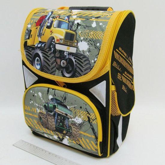 JO-1721 Рюкзак коробка Машины монстры 13,5'' 3 отд., ортоп., светоотраж. (1)