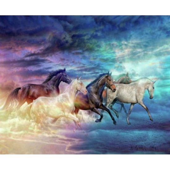 EKTL2022_O Раск-ка по номер. 30*40см Лошади OPP (холст на раме краск. кисти. ) (30)