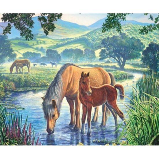 EKTL2038_O Раск-ка по номер. 30*40см Лошади на водопое OPP (холст на раме краск. кисти. ) (30)