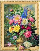 Алмазна мозаїка за номерами об'ємна на полотні в картонній упаковці 40х50  Квіти з саду Josef Otten ELT0520 (30)