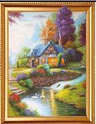 Алмазна мозаїка за номерами об'ємна на полотні в картонній упаковці 40х50 Милий будиночок Josef Otten ELT0576 (30)