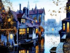 Картина за номерами на холсті з палітрою пронумерованих акрілових фарб у контейнерах з художніми пензлями 40х50 см Місто на воді Josef Otten EOTG6444_O (1/30)