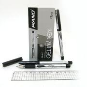 Ручка гелева чорна 0.5 мм з гумовим тримачем Piano PG-817