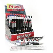 Ручка масляна автоматична синя 0.7 мм з гумовим тримачем Piano PT-201