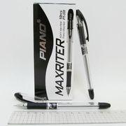 Ручка масляна чорна 0.7 мм з гумовим тримачем Maxriter Piano PT-335