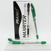 Ручка масляна зелена 0.7 мм з гумовим тримачем Maxriter Piano PT-335
