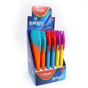 Ручка масляна автоматична синя 0.7 мм з тригранним прогумованим корпусом EASY Vinson Q7C